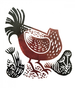 Headless Chicken. Linocut print.
