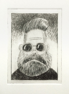 Hipster Dude. Drypoint.